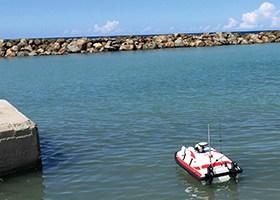 Trimaran drone marin télé-opéré pour études hydrographiques