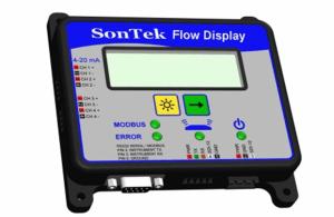 Afficheur local du débitmètre courantomètre IQ avec indication des débits, volumes, vitesse, hauteur d'eau et température de la rivière ou du canal