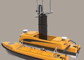 Drone marin auto-piloté démontable pour études hydrographiques
