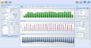Graphiques des débits, vitesses, profondeur obtenus via le logiciel FlowTracker sur PC